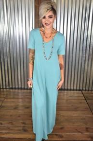 Mint S/S V Neck Maxi Dress