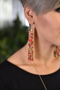 Red Multi Bead Tassel Earrings