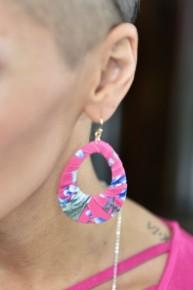Pink Fabric Earrings