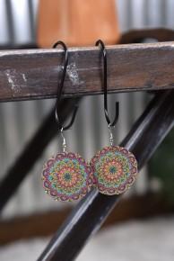 Oversized Mandala Wood Drop Earrings