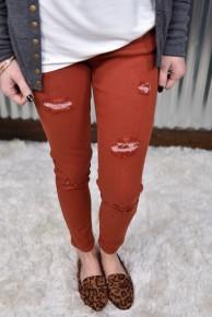 L & B Rust Distressed Skinny Jeans