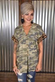Camo & Leopard Contrast Button Top