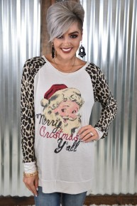 Merry Christmas Y'all Leopard Raglan