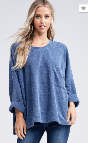 Blue Oversize Dolman Top