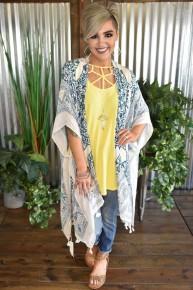 Teal Mandala Lotus Kimono