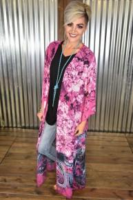 Fuchsia Paisley Kimono
