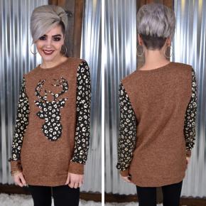 Cheetah Reindeer Sweater