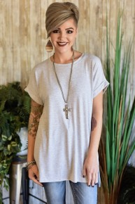 Grey Rolled Sleeve Top