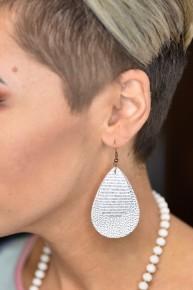 Silver Glitter Double Teardrop Earrings