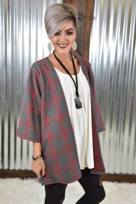 Red & Charcoal Plaid Kimono