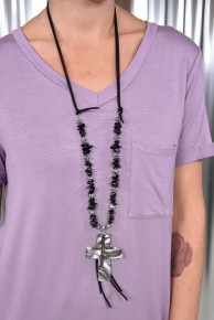 Black Stone & Hammered Cross Necklace