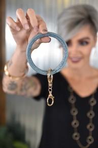 Soft Metallic Blue Key Ring Bangle