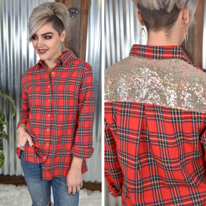 Full of Cheer Plaid Button Down Top *Final Sale*