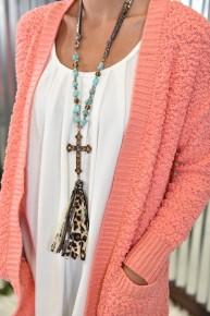 Turquoise & Leopard Grace Necklace