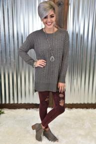 Mid-Grey Popcorn Sweater