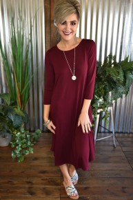 Burgundy 3/4 Sleeve Basic Dress
