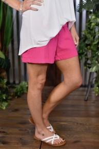 Fuchsia Linen Shorts