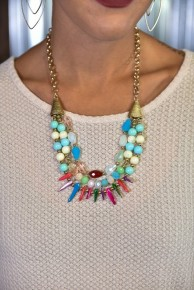 Gold Multi Stone Short Necklace