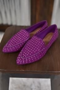 Raspberry Studded Flats