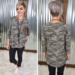 Camo Sequin Criss Cross Top