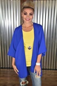 Royal Blue 3/4 Sleeve Kimono
