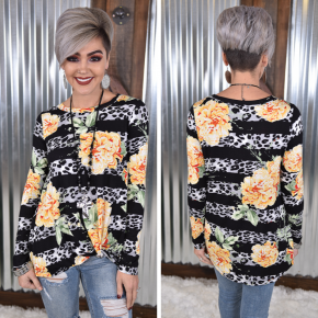 Black Leopard & Floral L/S Twist Top *Final Sale*