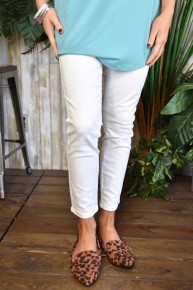 Royalty White High Rise Ankle Jeans
