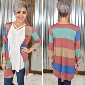 Mauve & Taupe Colorblock Cardigan *Final Sale*