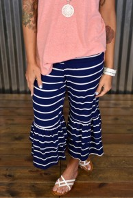 Navy & Ivory Ruffled Capri Pants