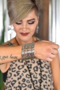 Silver Bangle Bracelet Set