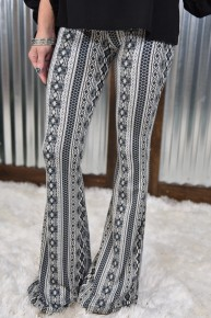 Black Mixed Print Bell Bottom Leggings