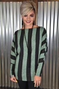 Green L/S Striped Dolman Sweater