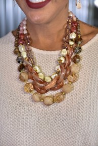 Neutral Multi Strand Short Necklace