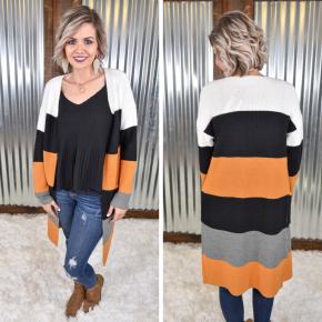 Multi Stripe Colorblock Cardigan