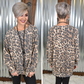 Beige Oversized Cheetah Top