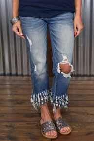 Kan Can Frayed Cropped Jeans