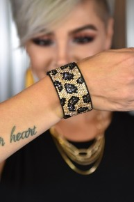 Brown Leopard Rhinestone Snap Bracelet
