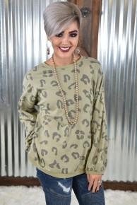 Sage Leopard Pullover Sweatshirt