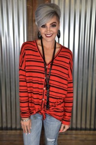 CLEARANCE Red & Black Stripe Tie Top