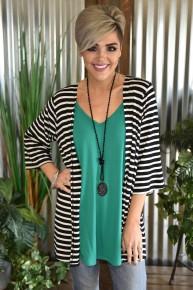 Black Striped Kimono