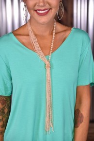 Rose Beaded Tassel Necklace