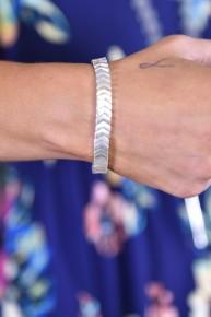 Silver Chevron Stretch Bracelet