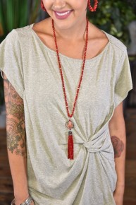 Red Southern Stone Tassel Necklace