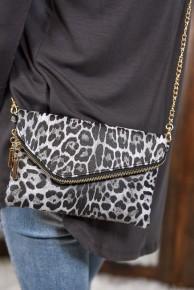 Black Leopard Asymmetrical Flap Cross Body