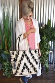 Black & White Crochet Lined Tote