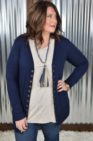 Navy L/S Snap Cardigan with Pockets