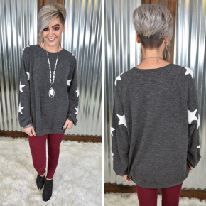 Charcoal Stargaze Pullover Top