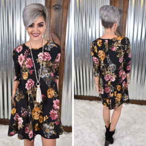 Black Flirty Floral Dress with Pockets