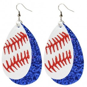 Blue Baseball Glitter Earrings