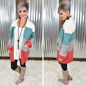 Mint Colorblock Sweater Cardigan